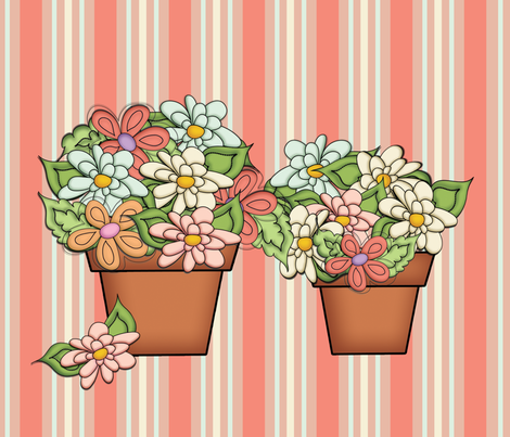Terra Cotta Flower Pots - (Striped Floral) fabric by cherie on Spoonflower - custom fabric