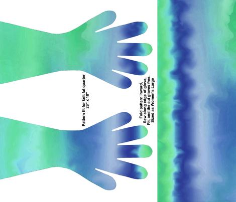 BlueGreen waves gloves fabric by ladyfayne on Spoonflower - custom fabric