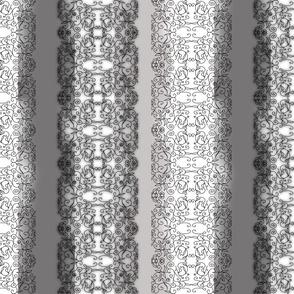 Vine Stripe in Black White and Gray