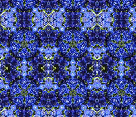 Blue Delphinium Kaleidoscope Fabric fabric by bloomingvinedesign on Spoonflower - custom fabric
