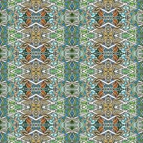 Interlocking Diamond Floral Stripe