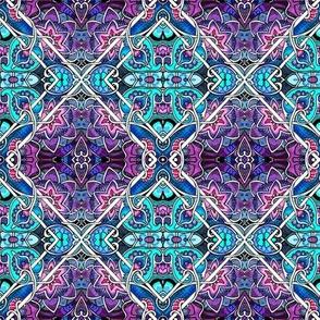 Ornate Diagonal Floral Tiles Checkerboard