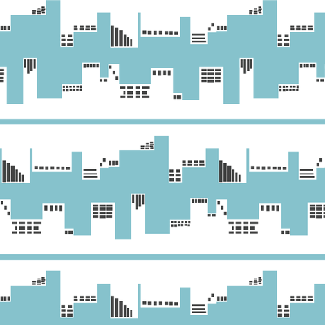 Up Town vs. Down Town in Blue and Grey fabric by bluenini on Spoonflower - custom fabric