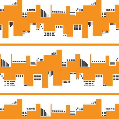 Up Town vs. Down Town in Orange and Grey fabric by bluenini on Spoonflower - custom fabric