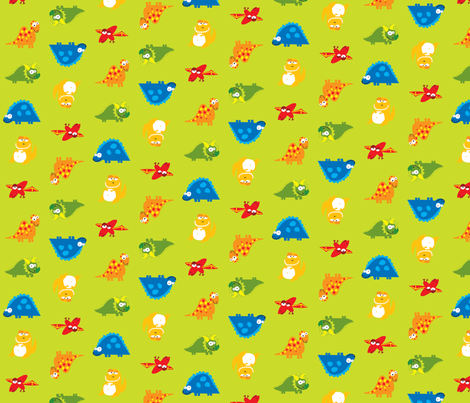 DinoGreen fabric by ghennah on Spoonflower - custom fabric