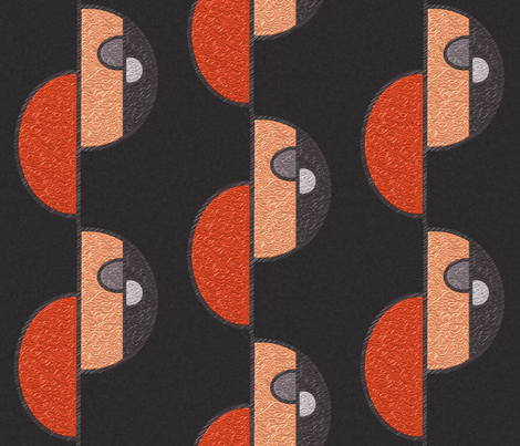 Half circles orange on brown LARGE by Su_G fabric by su_g on Spoonflower - custom fabric