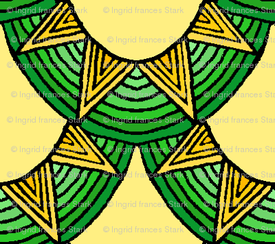 Dragon Scales in gold and green on pale yellow