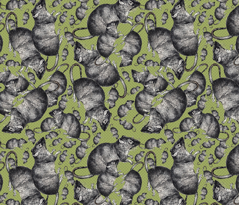 Rats on green background fabric by susiprint on Spoonflower - custom fabric