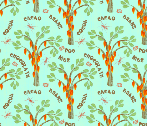 Cacao - with midges and ka-kaw - bluer fabric by glimmericks on Spoonflower - custom fabric