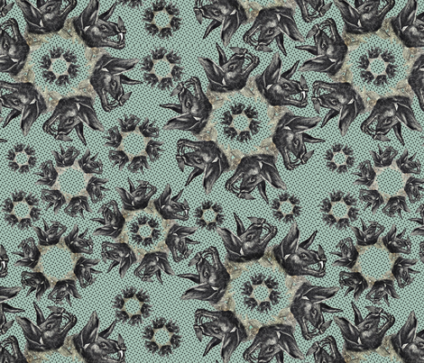 bats on green fabric by susiprint on Spoonflower - custom fabric