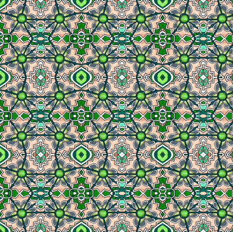 Jaunty Puzzle Retro Flower fabric by edsel2084 on Spoonflower - custom fabric
