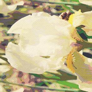 White iris tea towel - summer