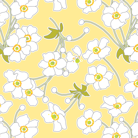 Japanese Anenomes in Yellow fabric by anntuck on Spoonflower - custom fabric