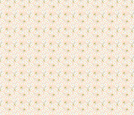 Japanese Anenomes in Shell Pink Ditsy Petite fabric by anntuck on Spoonflower - custom fabric