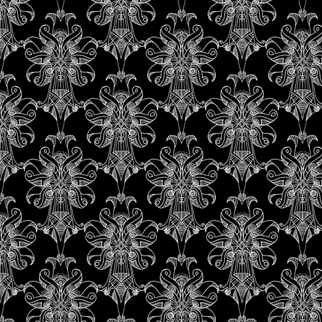 Atomic Bloom Dense Black fabric by atomic_bloom on Spoonflower - custom fabric