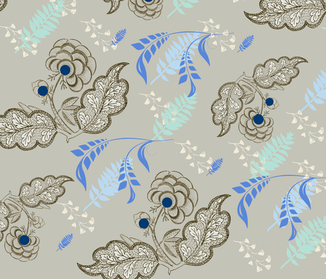 Floral Embroidery Tan fabric by captiveinflorida on Spoonflower - custom fabric