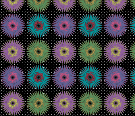 Spiroflower on black large fabric by glanoramay on Spoonflower - custom fabric