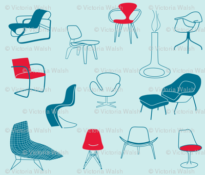 mid century modern chairs - light