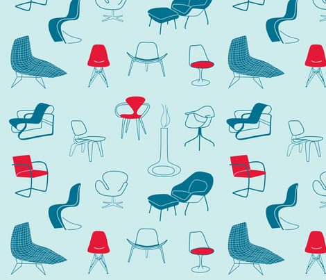 mid century modern chairs - light fabric by walsh|studio on Spoonflower - custom fabric