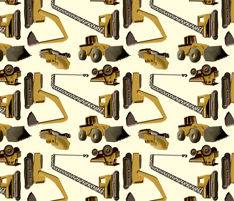 Construction Trucks on White fabric by evenspor on Spoonflower - custom fabric