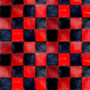red_and_dark_blue_checkers_board_painting