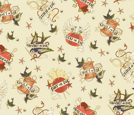 Craft Tattoo - Vintage fabric by urban_threads on Spoonflower - custom fabric
