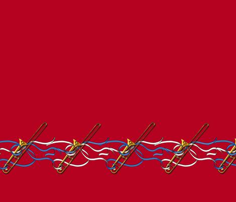 Trombones & Ribbons 1yd Horizontal Band fabric by engravogirl on Spoonflower - custom fabric