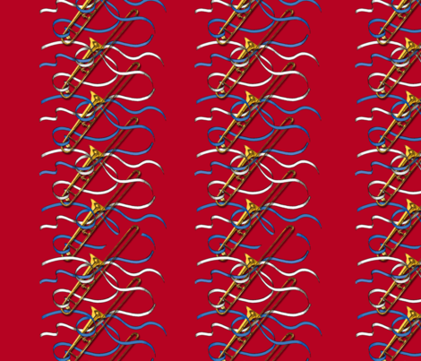 Trombones & Ribbons 1yd Vertical Stack fabric by engravogirl on Spoonflower - custom fabric