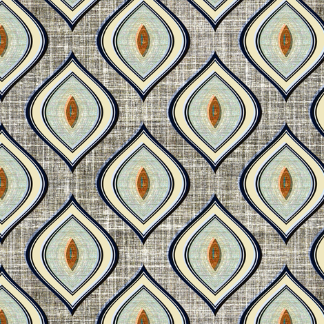 Faux Linen Ogee in gray and aqua fabric by joanmclemore on Spoonflower - custom fabric