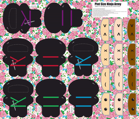 Pint Size Ninja Army fabric by engravogirl on Spoonflower - custom fabric