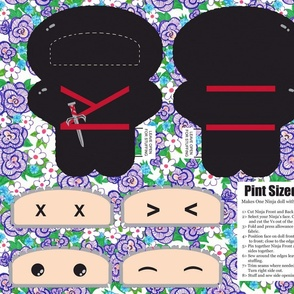 Pint Size Ninja Doll - Fat Quarter