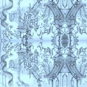 Oriental Wallpaper sketch Blue by Cynthia Tom