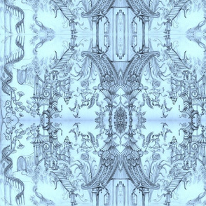 Oriental/Chinoiserie Wallpaper sketch Blue - Cynthia Tom