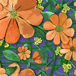 Floral Vines - Orange