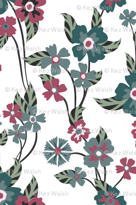 Teal and Pink floral