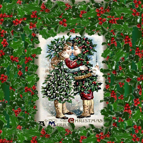 Mistletoe & Holly kissing pillowtop