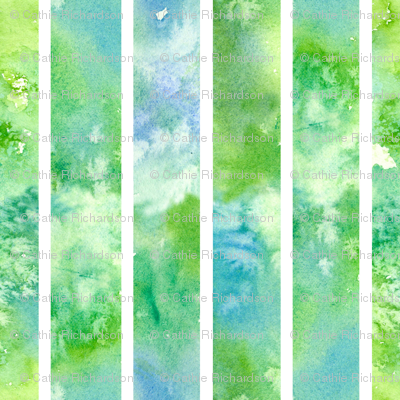 Green Watercolor Wash Stripe