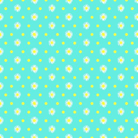 turquoise_white_yellow_flowers fabric by mammajamma on Spoonflower - custom fabric