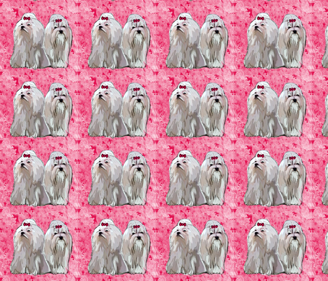maltese_on_red_background fabric by dogdaze_ on Spoonflower - custom fabric
