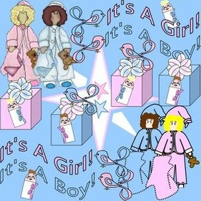 Baby Nicky It's A Girl! It''s A Boy! Umbrellas and Hearts Fabric