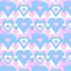 Pink and Blue Hearts Fabrics
