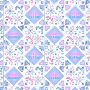 It's A Girl! It's A Boy! 4 Designs Squares fabric