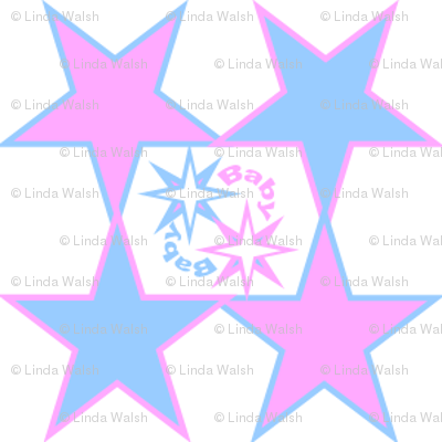 Pink & Blue Baby Stars Nursery Fabric