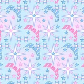 Baby Intricate Pink & Blue Stars Fabric