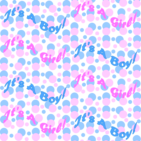 It's A Boy! It's A Girl! Pink & Blue Circles Fabric fabric by lworiginals on Spoonflower - custom fabric