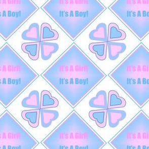 It's A Girl! It's A Boy! Square Design Fabric Revised