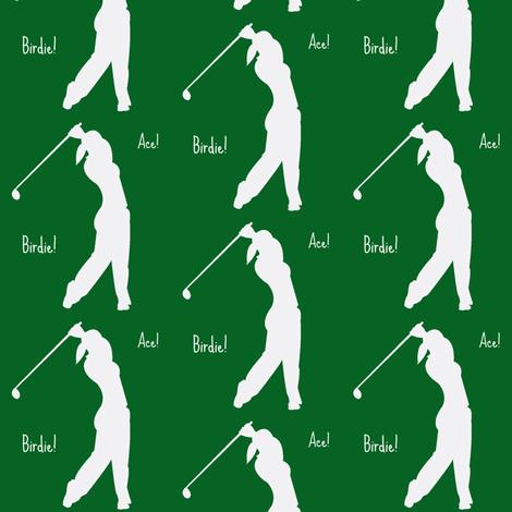 Woman golfer Ace! Birdie! fabric by amy_frances_designs on Spoonflower - custom fabric