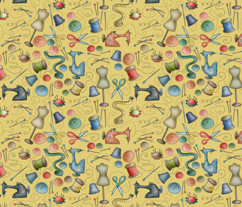 Sewing Collection - 4FQ in 1yard fabric by catru on Spoonflower - custom fabric