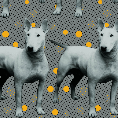 Marley dogs white yellow dots fabric by susiprint on Spoonflower - custom fabric