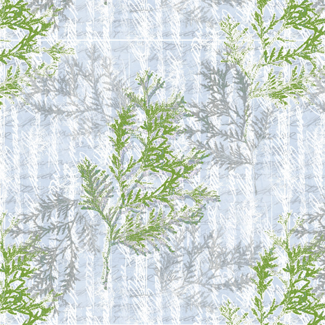 Frosty Morning Cedars fabric by donna_kallner on Spoonflower - custom fabric